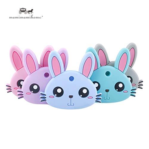Mamimami Home 5 STÜCKE Baby Silikon Beißring Bunny Rabbit Tiere geformt natürliche Kautabletten Silikon DIY Crafts Zahnen Anhänger Baby Duschgeschenk