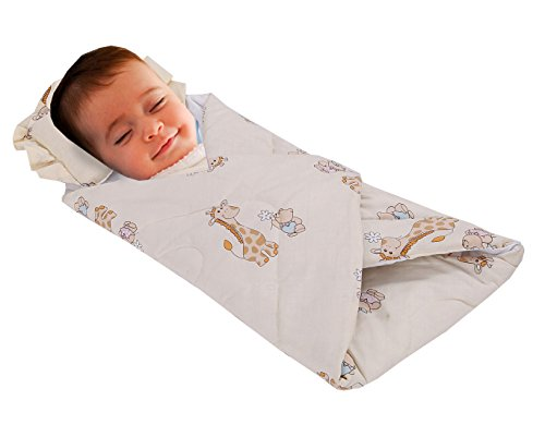 Love2Sleep Soft Touch Baumwolle Baby Wickeldecke Kuscheldecke mit gepolstertem Kissen, mit 0–4Monate Design: Giraffe