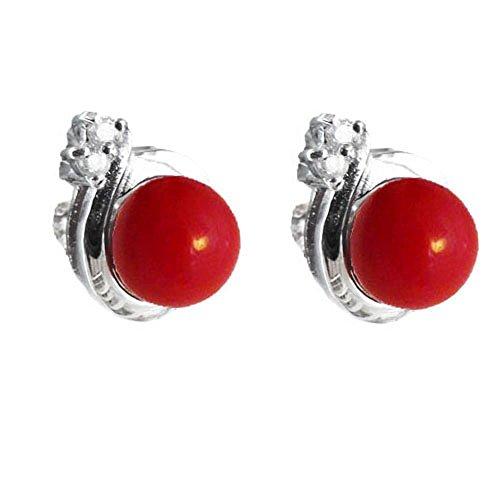 Austral Jewellery 925 Sterlingsilber -rote Korallen-Wellen-Ohrstecker Mit Zwei CZs - Mai Monatsstein (Rot Sitz Zwei)