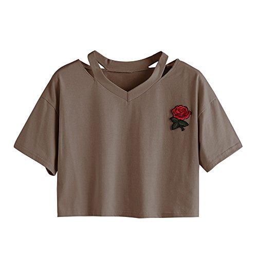 Oberteile Frauen Sommer, Ulanda Teenager Mädchen Mode Crop Top Sport V-Ausschnitt Shirt Bluse Damen Casual Rose Stickerei Kurzarm T-Shirts Hemd Tops Pullover Sale (Braun, M)