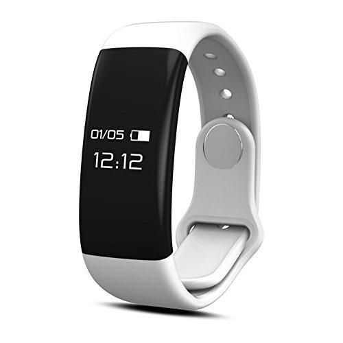 qimaoo Bluetooth-Fitnessarmband, Fitness-Tracker Herzfrequenz-Monitor, Activity-Tracker, Schlafüberwachung, Wasserdicht Sport Smartwatch mit folgenden Funktionen: Kalorienzähler/Schrittzähler/SMS/Anti-Telefonverlust/Alarm für iPhone Android Smartphone (H30), Herren, weiß