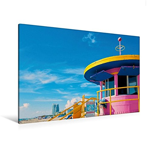 Calvendo Premium Textil-Leinwand 120 cm x 80 cm quer, Bay Watch - eine Life Guard Station am Strand von South Beach | Wandbild, Bild auf Keilrahmen, Fertigbild Beach, Miami, Forida, USA Orte Orte