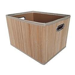 Aufbewahrungsbox Von Kesper - Hochwertige Faltbox Aus Bambus Mit Stoffeinlage