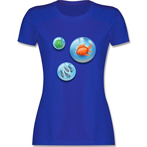 Sonstige Tiere - Aquarium Bubbles Fische - tailliertes Premium T-Shirt mit Rundhalsausschnitt für Damen Royalblau