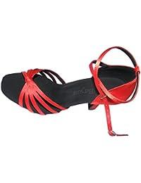 Colorfulworldstore Zapatos de baile latino con cinco correas acabadas en nudo en color rojo/bronce/carne/beige/con estampado de leopardo