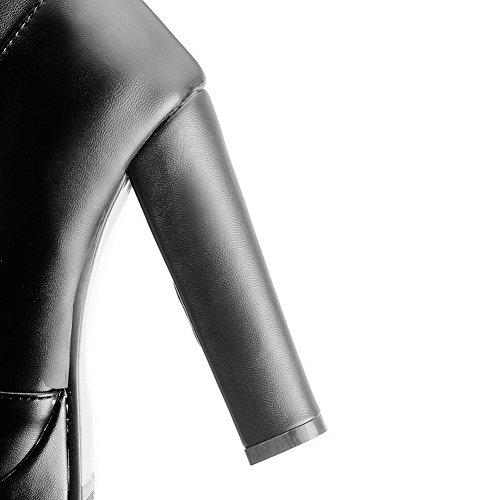 VogueZone009 Damen Pu Leder Rein Reißverschluss Hoher Absatz Stiefel mit Metallisch Schwarz