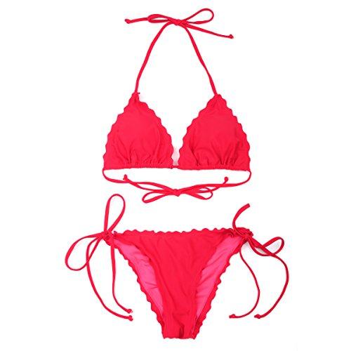 RELLECIGA Damen Bademode Triangel Bikini mit Unterteil im Brasil Style Rot