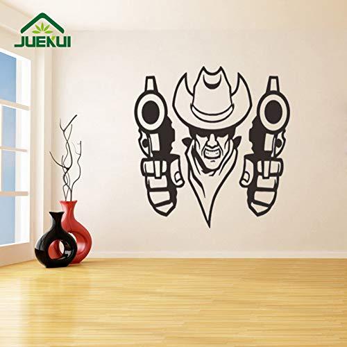 West Cowboy Background Design Moderno Adesivi murali per Soggiorno Vinile Smontabile Stickers murali Decorazione Camera da Letto Murales Nero 57X45cm