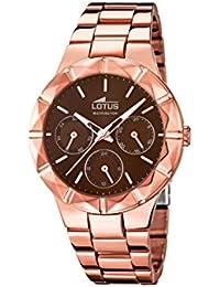 Lotus 15921/2 Reloj de pulsera para mujer, cuarzo, con esfera analógica marrón y correa de acero inoxidable bañado en oro rosa