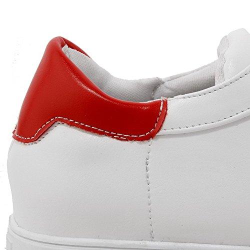 AllhqFashion Femme Couleurs Mélangées à Talon Correct Lacet Rond Chaussures Légeres Rouge