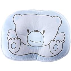 Cute Bear Cotton Newborn Baby Prevent Flat Head Pillow Support blue