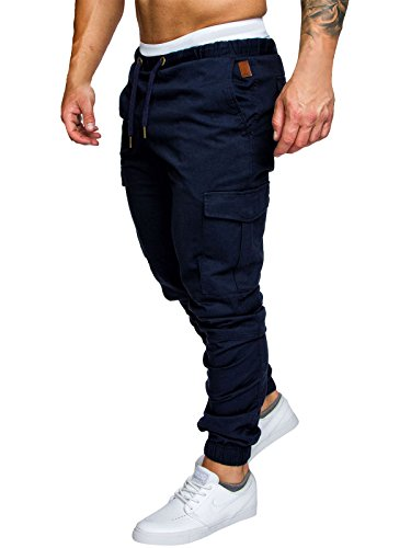 Herren Hose Cargo Chino Jeans Stretch Jogger Sporthose Slim-Fit Freizeithose (Dunkelblau, L)