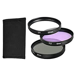 BPS 52mm Kit de filtre UV+ CPL+ FLD+ sac de transport Kit d'Accessoire pour Canon Nikon Sony Olympus et les Autres Reflex Numérique avec 52mm Filetage de lentille