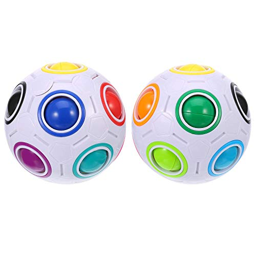 egenbogenkugeln Kugeln Magic Speed Cube Ball Puzzle Gehirn Teasers Stress Angstlinderung Fidget Ball 3D Intelligentes Lernspielzeug Kinder & Erwachsene Weihnachten, weiß ()