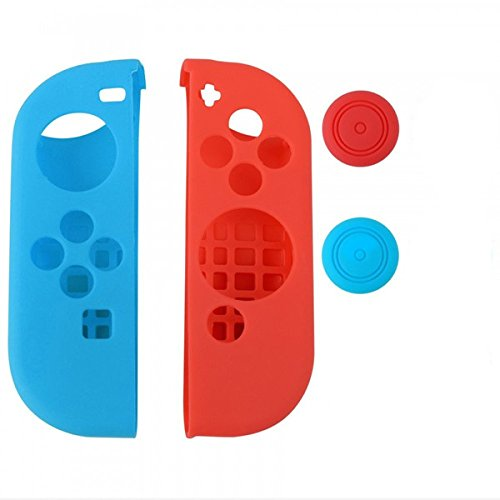 Chickwin Nintendo Switch Silikon Cover Case Gel-Protektoren und 2 Thumb Stick Kappen Protector für Nintendo Switch Joy-Con Controller (Links Blau Rechts Rot) (Collector Card Display Case)