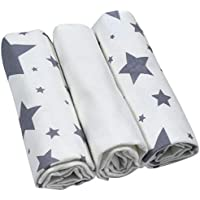 Moltontuch Stars im 3er Set 100% Baumwolle softig weich 80x80 cm Öko-Tex 100 zerifiziert/Made in Germany