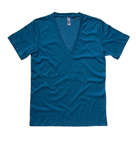 Bella + Canvas Unisex Jersey Deep V-Neck T-Shirt Gr. XXL, Blaugrün (Belle Jersey-t-shirt)