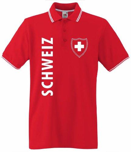 world-of-shirt Herren T-Shirt Schweiz/Suisse Wappen Poloshirt|XXL