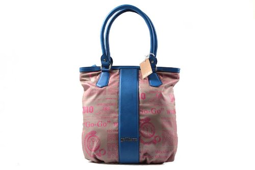 john-galliano-borsa-donna-a-spalla-shopping-nuova-originale-blu