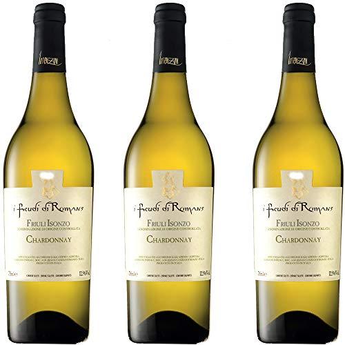 Chardonnay Doc | Friuli Isonzo | I Feudi Di Romans | Vino Bianco del Friuli | 3 Bottiglie 75 Cl | Idea Regalo