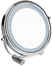 Sabichi 173744 LED Light Cosmetic Makeup Round Magnifying Vanity Compact Mirror, Glass, Silver