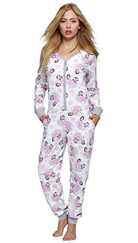 SENSIS Edler Schlafanzug-Overall Jumpsuit mit Bündchen und praktischem Reißverschluss, 100% Baumwolle - Made in EU (S/M (36/38), Happy Winter) (Frauen Anzug Nacht Für)