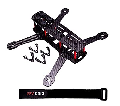 FPVKing 250mm FPV Racing Drone Frame 3K Carbon Fiber Quadcopter Frame with 3mm Arms for Mini QAV250 + 25cm Lipo Battery Strap