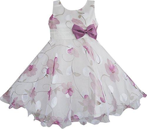 AJ51 Sunny Fashion - Vestito floreale, bambina, viola 3 anni