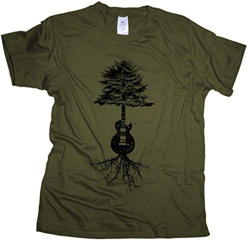 Guitar Roots - Herren T-Shirt | Gitarrist Rock Band Gitarre-Khaki-m -