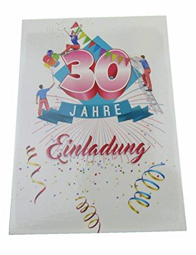 Einladungskarten Geburtstag 30 Jahre mit Text auf der Rückseite. 20 Stück im Set zum runden Geburtstag. Ausfüllen, überreichen oder mit der Post verschicken. (30 Geburtstag - 20 Stück)
