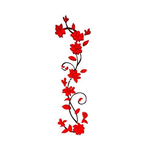 Magideal 3d fiore murali adesivi arte decalcomania rimovibile parete decorazione casa - rosso