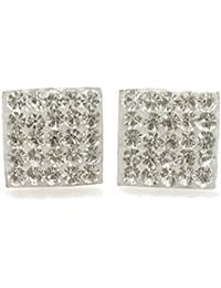 08e66cfe9d9f Bling para hombre de plata de ley grande 10 mm Micro cuadrado pendientes  con cristales de