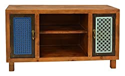 ts-ideen TV-Bank Lowboard Sideboard Kommode HiFi-Schrank Regal Flur Diele Wohnzimmer Vintage Antik Shabby Design Used Style massiv Holz braun Zwei Türen mit Buntem Muster