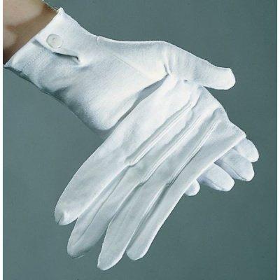 Handschuhe Baumwollhandschuhe weiss Baumwolle Herren mit Biesen weiß