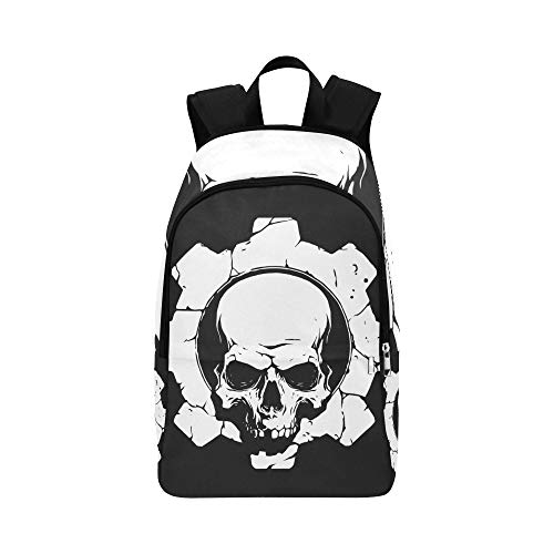 Zaino del college del demone del cranio scuro del sacchetto di viaggio casuale del daypack per l'uomo e le donne