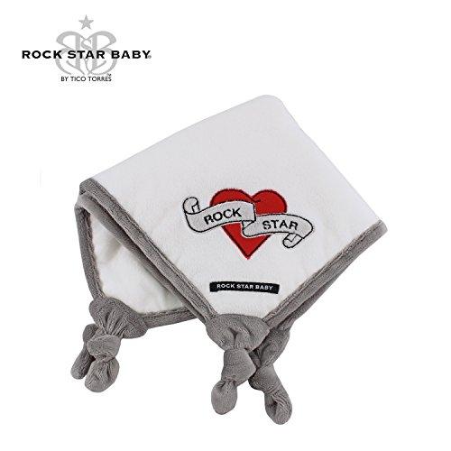 ROCK STAR BABY174; by Tico Torres Schmusetuch für Babys, kuscheliges Soft Velour Kuscheltuch 9733; Heart & Wings, weiß