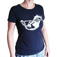 Ratte, Bio T-Shirt Frauen, dunkelblau, mit Handsiebdruck