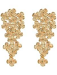 FOCALOOK 18K Gold Plated Drop Earrings,Multi Flowers Statement Long Dangle Earrings Wedding Bridal Earrings
