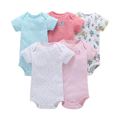TUDUZ 5 Stücke Neugeborenes Baby Jungen Mädchen Print Kleidung Täglichen Spielanzug Playsuit Jumpsuit für 0-24 Monate (A, 0-6 Monate)