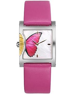 TIME100 Schmetterling Liebhaber-Armbanduhr Shell Quarz Leder #W50265L.02AN