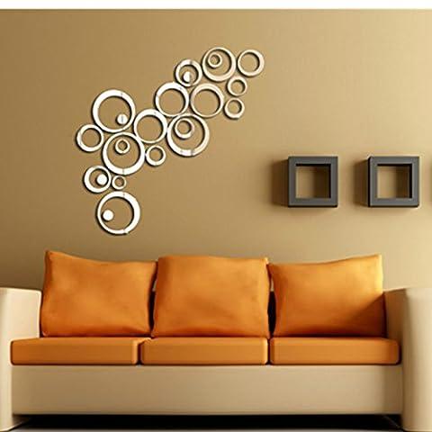 FYOUYOU kreative Wand Acryl 3D Wand Spiegel Oberfläche Circlediycreative Wanddekoration Maler Austausch 3D Wand Spiegel Oberfläche