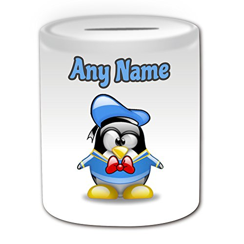 Disney Kostüme Charakter Cartoon (Personalisiertes Geschenk – Donald Duck Spardose (Pinguin Cartoon Charakter Kostüm Design Thema, weiß) – alle Nachricht/Name auf Ihre einzigartige – Silly Funny Neuheit kawaii Humor Anime Animation Film Movie Game Roman Art Clipart Episode TV Fernseher)