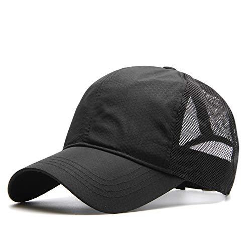 ann Plus Größen-Baseballmütze-Mann-Sommer-dünne Gewebe-Ineinander greifen-Sonnenhut-männliche Hysteresen-Hüte,schwarz,Code 60-65CM ()