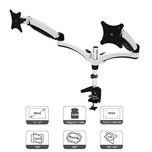 HFTEK - Dual Monitorarm TV Halter Mounts Tischhalterung für 2 Bildschirme von 15 bis 27 Z