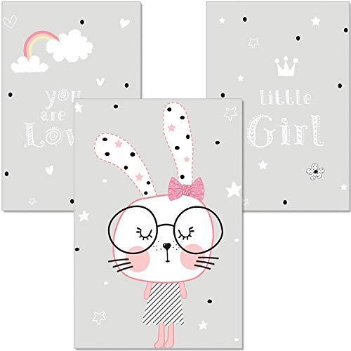 ARTpin® 3er-Set Poster Kinderzimmer Von Künstlerin - A4 Wandbilder Babyzimmer - Deko Mädchen - Hase Brille,Regenbogen(P9)