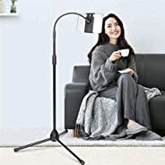 Padom adjustable phone tripod floor stand/stand with bendable gooseneck for phone and iPad/tablet 4.7 inches t