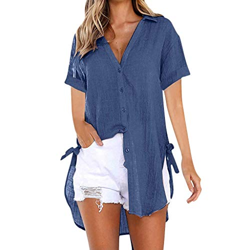 KOKOUK Women''s Summer Casual T Shirt Dresses Short Sleeve Swing Dress with Pockets (Pink Flower Navy Blue) -