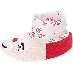 EOZY-Scarpe Primi Passi per Bimbi Bambina Stivali Natale Calzature Neonati Fiocco di Neve 12CM