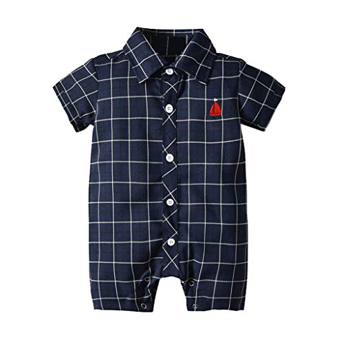 Knowin-baby body Süß Infant Baby Boys Kurzarm Gentleman Plaid Print Strampler Overall Kleidung Einteiliges Kleid mit kurzen Ärmeln und kariertem Bart und Bootsmuster - Boys Infant Weihnachten Kleider