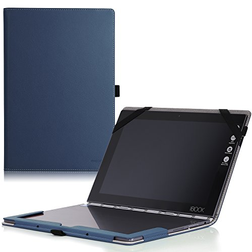 MoKo Lenovo Yoga Book Hülle - PU Leder Tasche Ständer Schale Folio Smart Case Cover mit Stift-Schleife/Standfunktion für Lenovo Yoga Book YB1-X90F, YB1-X91F 10.1 Zoll 2-in-1 Tablet/Laptop, Marineblau